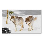 Wolves in Snow Sticker (Rectangle 10 pk)