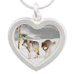 Wolves in Snow Silver Heart Necklace