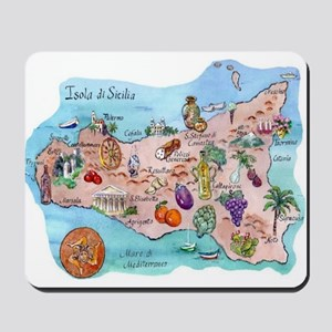 Mousepad Of a Map of Sicily