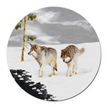 Wolves in Snow Round Car Magnet