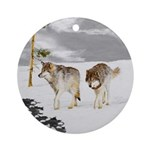 Wolves in Snow Round Ornament