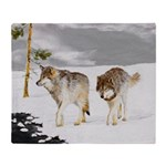 Wolves in Snow Throw Blanket