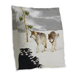 Wolves in Snow Burlap Throw Pillow