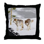 Wolves in Snow Throw Pillow