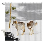 Wolves in Snow Shower Curtain