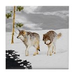 Wolves in Snow Tile Coaster