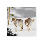 Wolves in Snow Square Sticker 3