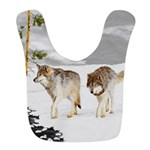 Wolves in Snow Polyester Baby Bib