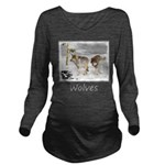 Wolves in Snow Long Sleeve Maternity T-Shirt