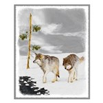 Wolves in Snow Small Poster