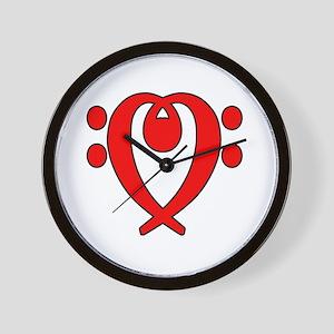 bass clef heart red Wall Clock