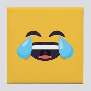Cry Laughing Emoji Face Tile Coaster