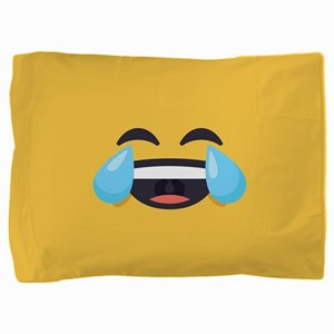 Cry Laughing Emoji Face Pillow Sham