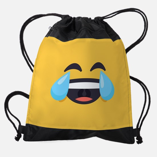 Cry Laughing Emoji Face Drawstring Bag