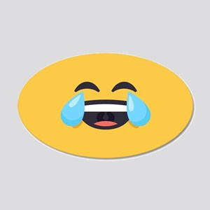 Cry Laughing Emoji Face 20x12 Oval Wall Decal