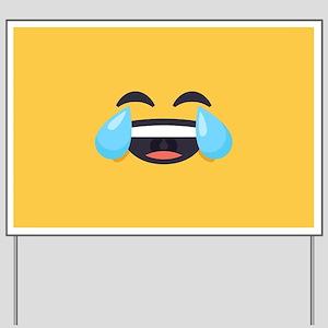 Cry Laughing Emoji Face Yard Sign