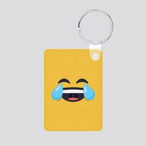 Cry Laughing Emoji Face Aluminum Photo Keychain