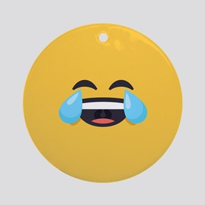 Cry Laughing Emoji Face Round Ornament