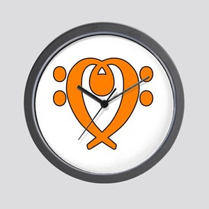 bass clef heart orange Wall Clock