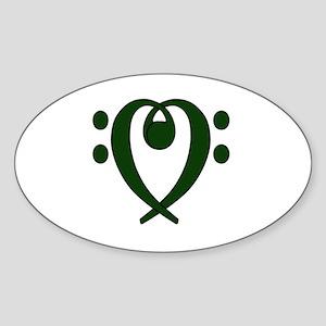Bass clef heart dark green Sticker