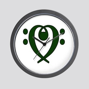 Bass clef heart dark green Wall Clock