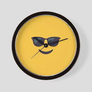 Sunglasses Emoji Face Wall Clock