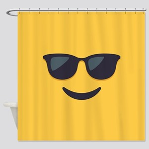 Sunglasses Emoji Face Shower Curtain