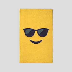 Sunglasses Emoji Face Area Rug