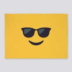 Sunglasses Emoji Face 5'x7'Area Rug