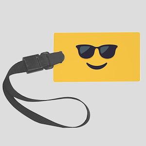 Sunglasses Emoji Face Large Luggage Tag