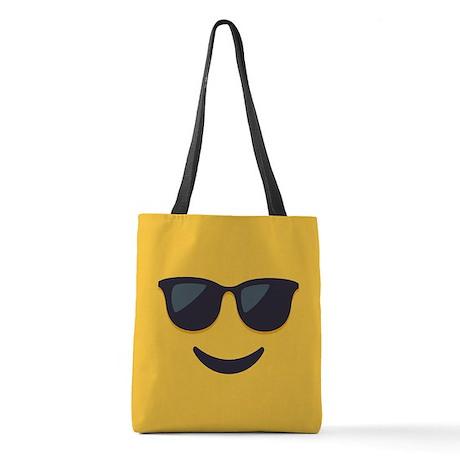 Sunglasses Emoji Face Polyester Tote Bag