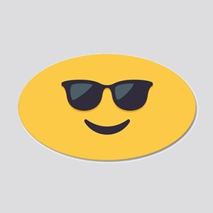 Sunglasses Emoji Face 20x12 Oval Wall Decal