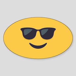 Sunglasses Emoji Face Sticker (Oval)