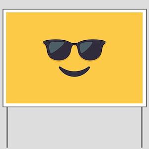 Sunglasses Emoji Face Yard Sign