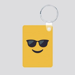Sunglasses Emoji Face Aluminum Photo Keychain