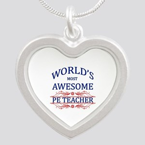 World's Most Awesome PE Teacher Silver Heart Neckl