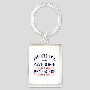 World's Most Awesome PE Teacher Portrait Keychain