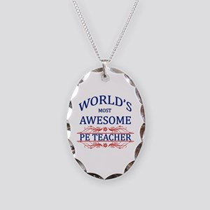 World's Most Awesome PE Teacher Necklace Oval Char