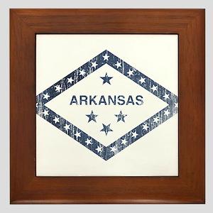 Vintage Arkansas State Flag Framed Tile