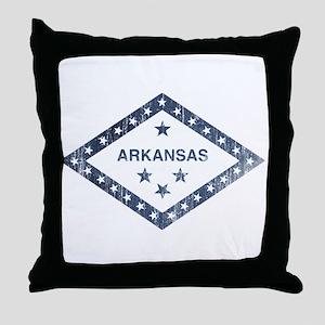 Vintage Arkansas State Flag Throw Pillow