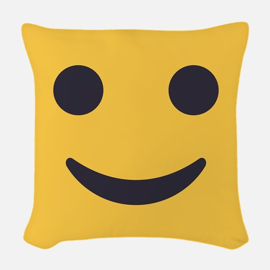 Smile Emoji Face Woven Throw Pillow