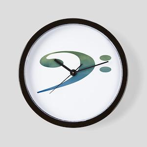 bass clef clouds green blue Wall Clock