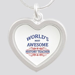 World's Most Awesome History Teacher Silver Heart