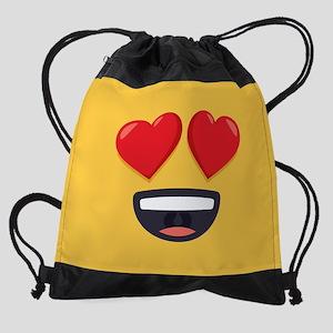 Heart Eyes Emoji Face Drawstring Bag