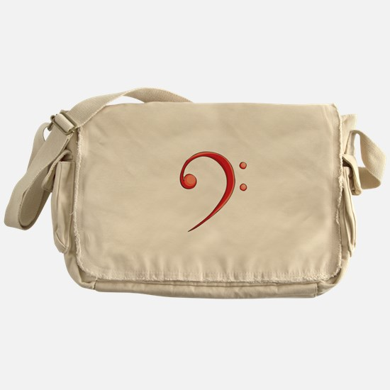Bass Clef Casual Style Red Messenger Bag