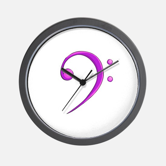 Bass Clef Casual Style Purple Wall Clock