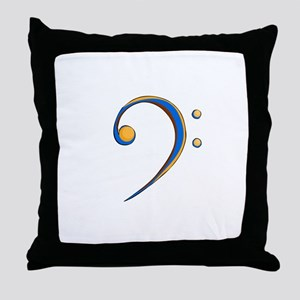 Bass Clef Casual Style Orange and Blue Throw Pillo