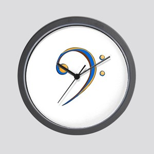 Bass Clef Casual Style Orange and Blue Wall Clock