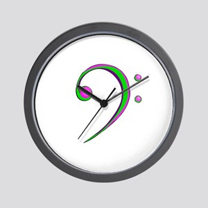 Bass Clef Casual Style Green and Purple Wall Clock