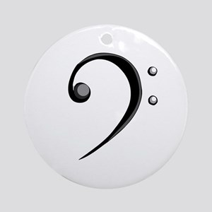 Bass Clef Casual Style Black White Ornament (Round